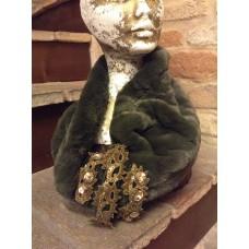 scaldacollo in pelliccia ecologica verde militare