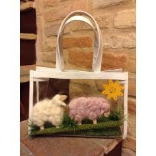 borsa trasparente con pecore
