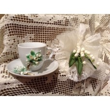 tazzina e piattino da caffè in porcellana bianca