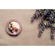 Mini quadretto tondo in legno e fiorellini - 009