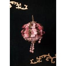 Sfera polistirolo ricoperta in taffetà e seta rosa- pezzo unico